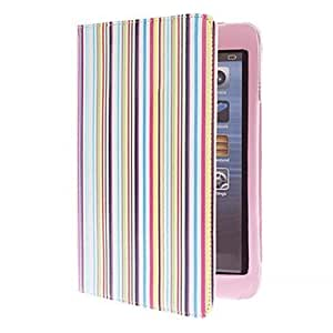Colorful Stripes Pattern PU Leather Case with Stand for iPad mini