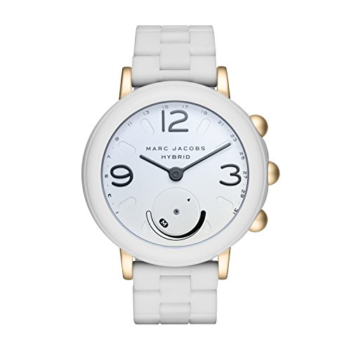 Marc Jacobs Women's 'Riley Hybrid' Quartz Stainless Steel and Rubber Smart Watch, Color:White (Model: MJT1004) by Marc Jacobs