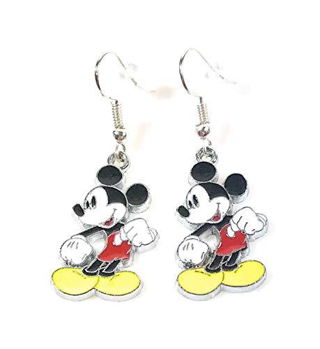 Earrings Dangle Disney (Disney inspired Mickey Mouse Cartoon Character Metal Drop Dangle Hook Earrings W/Gift Box)