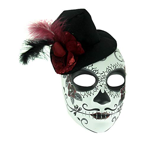 Mens Adult Sugar Skull Mask with Top Hat Rose and -