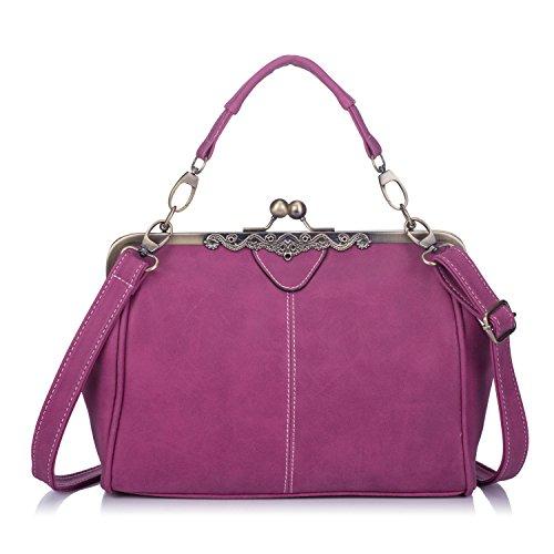 Lock Handbag - Women PU Leather Purse Retro Fashion Top Handle Handbag Kiss Lock Crossbody Shoulder Bag for Ladies Pink