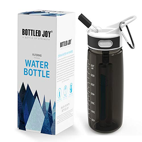 BOTTLED JOY Filtering Water Bottle, 27oz Water Bottle with Replaceable 2-Stages Filter BPA Free Hollow Fiber Membrane Filter Reusable Straw for Hiking Camping Backpacking Hunting and Fishing