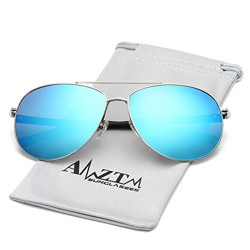 Price comparison product image AMZTM Classic Double Bridge Shades Fashion Polarized Aviator Sunglasses For Men TR90 Legs Metal Frame Flash Mirror REVO Lens Driving Glasses (Silver Frame Ice Blue Lens,  61)