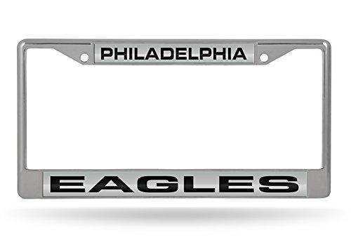 Rico Industries, Inc. Philadelphia Eagles ND2502 LASER FRAME Chrome Metal License Plate Cover Football