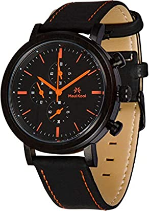 Maui Kool Steel and Wood Hybrid Chronograph Watch for Men Wailea Collection Leather Band Bamboo Box (W1 - Black and Orange)