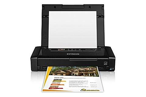 Epson WorkForce WF-100 Wireless Mobile Inkjet Printer, 6.7/3.8 ppm Black/Color, 5760x1440 dpi, 20 Sheet Input Tray, USB 2.0/Wi-Fi - (Epson Workforce 100 Mobile)