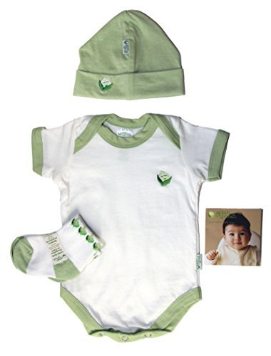 iPlay Green Sprouts Baby Layette 3 Piece Set, Hat, Socks, Overalls, 0-3 Months (Green Layette)