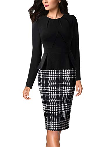- VFSHOW Womens Pleated Crew Neck Peplum Wear to Work Office Sheath Dress 1776 BLK XS