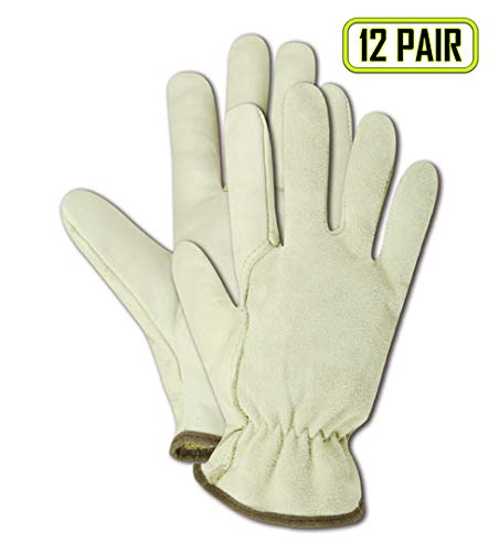 MAGID B6547E Roadmaster Unlined Grain Leather Driver Glove with Wing Thumb, Work, Medium, Tan (12 Pair)