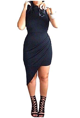 Coolred-femmes Coupe Solide À Accepter Wrap Robes Courtes Robe Tunique Ceinture Noire