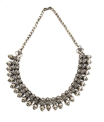 ized Jewelry 14 Inch Antique Silver Metal Women Choker Beaded ()