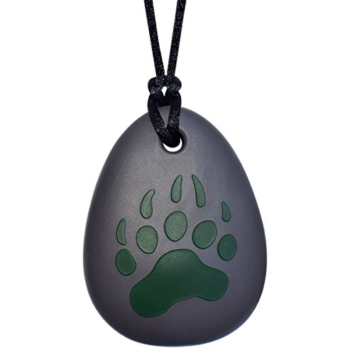 Sensory Oral Motor Aide Chewelry - Bear Paw Chew Necklace for Sensory-Focused Kids (Forest Green)