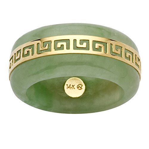 - 14K Yellow Gold Round Genuine Green Jade Greek Key Ring Size 6