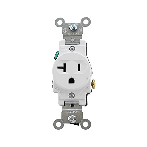 (Leviton 5801-W Single Receptacle Straight Blade Grounding 5-20R 20A 125V, White (10 Pack))