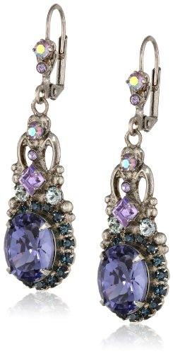 "Sorrelli  ""Hydrangea"" Double Loop Crystal Stardust Drop Earrings"