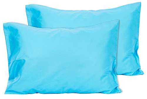2 Turquoise Toddler Pillowcases - Envelope Style - For Pillows Sized 13x18 and 14x19 - 100% Cotton With Percale Weave - Machine Washable - 2 Pack by Zadisonjaxx