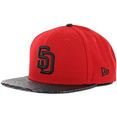 """New Era 9Fifty """"Leather Rip"""" San Diego Padres Snapback Hat (Red/Black) MLB Cap"""