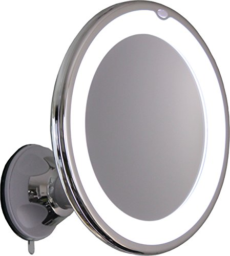 8X Magnifying Lighted Makeup Mirror With Chrome Finish, Locking Suction Mount And Ball Joint Swivel For Changing the Mirrors Angle 8X
