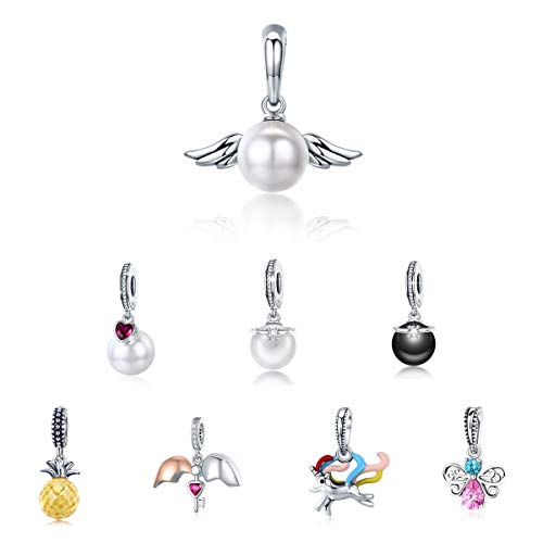 - BAMOER 925 Sterling Silver Pearl Dangle Charms Angel Wing Charm for Women Girls Fit Bracelet Necklaces