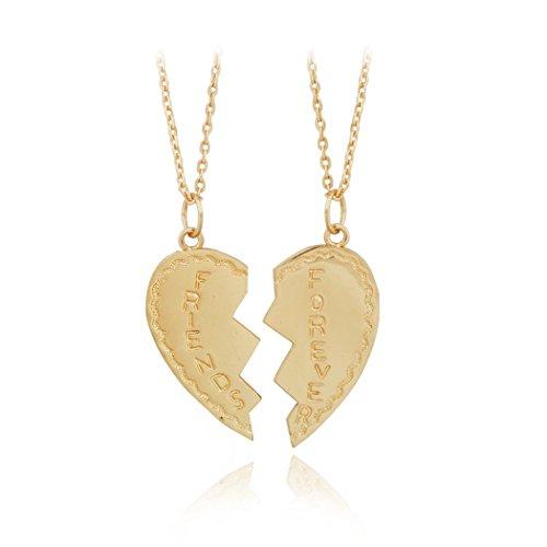 Jane Stone Best Friends Couple 2Pcs Golden Love Heart Pendant Necklace for BFF(Fn1698)