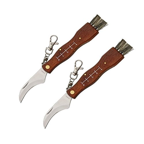 2 pcs Camping Hunting Folding Mushroom Knife Fungus Truffles Harvest Sharp Knives Natural Wood Handle Pocket knife w/ Bristle Brush