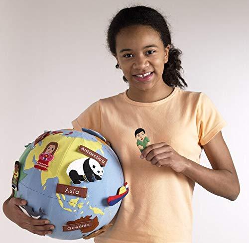 EQD World Globe with Fabric Cover & 20 Attachable Motifs & Pump
