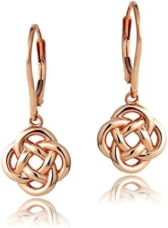 Hoops & Loops Sterling Silver Love Knot Flower Dangle Leverback Earrings