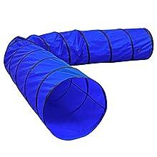 Dibea Túnel para Perros, túnel para Gatos, túnel de Juegos, túnel de Agilidad para Mascotas en Varios tamaños, Color Azul (L) 500 x 60 cm