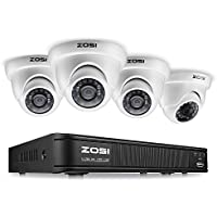 ZOSI 8-Channel HD-TVI 720P Video Security Camera System ,1080N Surveillance DVR Recorder and (4) 1.0MP 720P(1280TVL) Weatherproof Outdoor/Indoor Dome CCTV Camera with Night Vision