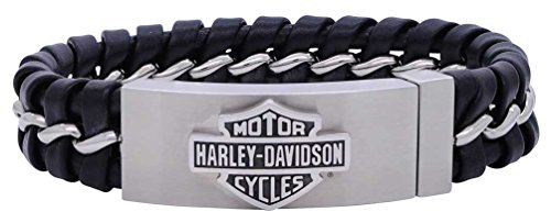 Harley-Davidson Men's Hidden Clasp Bar & Shield Bracelet, Black HSB0182 (8.5)