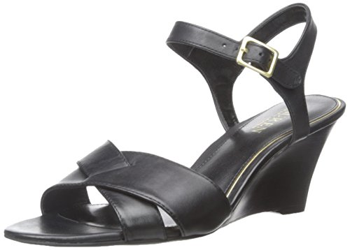 Lauren Ralph Lauren Women's Heila Wedge Sandal, Black Soft Burnished Calf, 8 B US ()