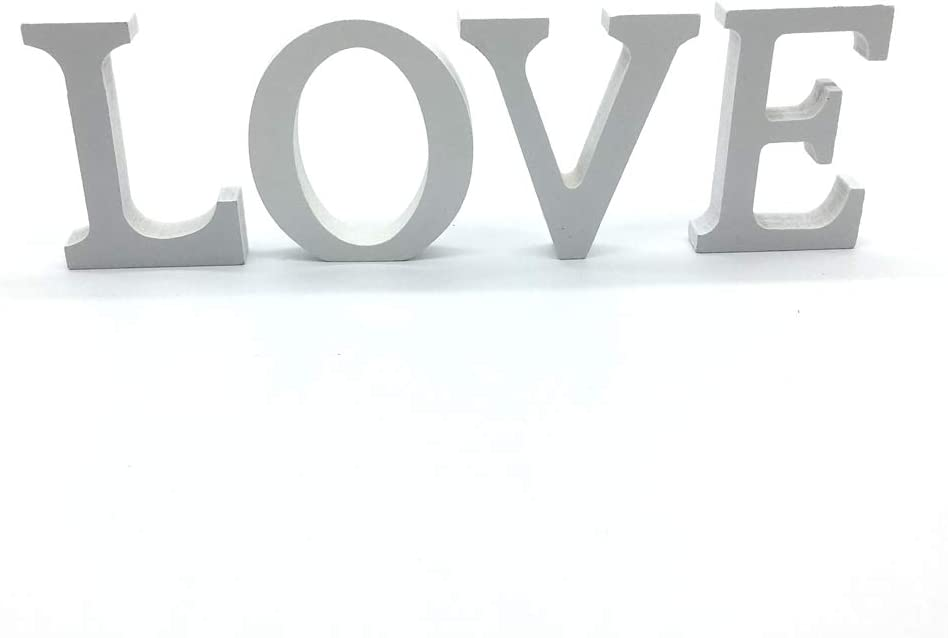 Venkaite DIY Lettres en bois A-Z de f/ête danniversaire de mariage Loisirs Cr/éatifs Alphabet Blanc Bois N