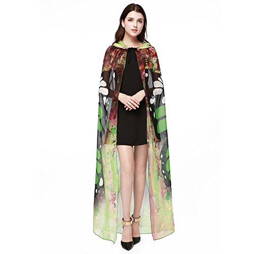 vermers Womens Shawls and Wraps Novelty Print Chiffon Butterfly Wing Cape Scarf Peacock Poncho Shawl Wrap(Green) ()