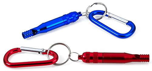 Emergency Whistle Keychain - W/ Clip-On – Red, Green And Blue Colors - Easy Blow Loud Whistle - 2 Pack For Referee, Coaches, Training, Sporting, Self Defense, Survival, And Emergency - By (Makes Loud Whistle)