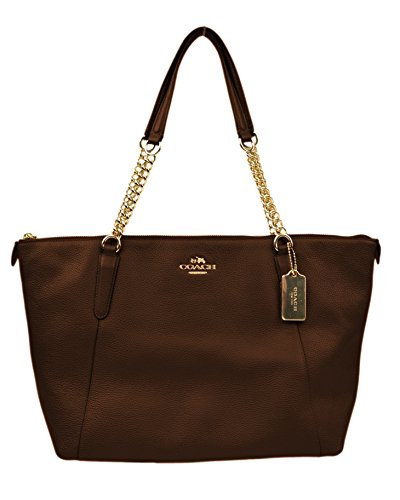 Coach New York Women's F22211 Pebbled Leather Ava Chain Tote Bag Purse Oxlood Gold