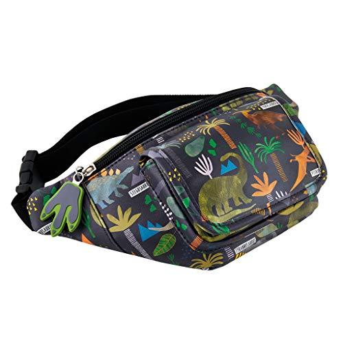 (Dinosaur Prehistoric Midnight Black 11 x 5 Polyester Fabric Waist Belt Bag Pack)