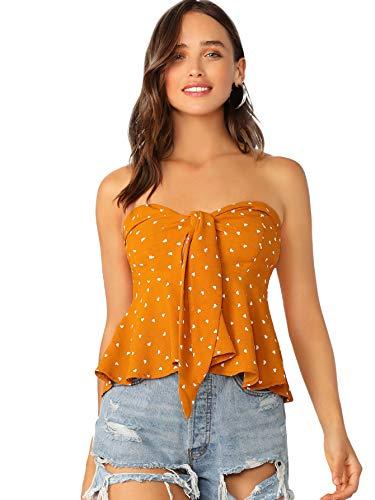 SheIn Women's Knot Ruffle Hem Polka Dot Strapless Bandeau Peplum Crop Top Orange ()