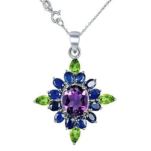 Orchid Jewelry 925 Sterling Silver Necklace 10.2ct TGW Genuine Amethyst/ Sapphire and Peridot