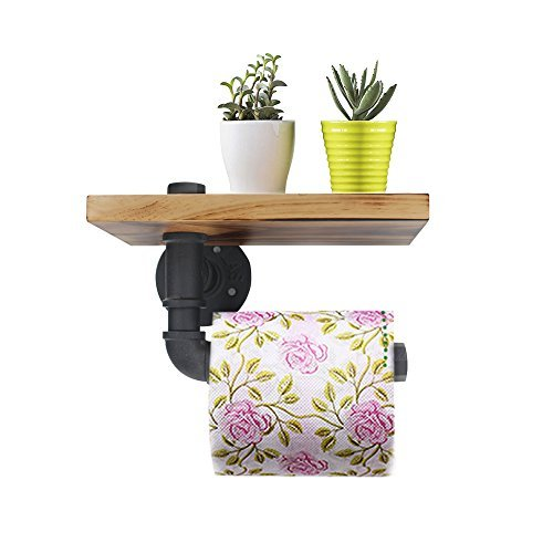 Wall Mount Toilet Paper Holder, Industrial Iron Pipe Bathroom Tissue Holder with Mobile Phone Storage Shelf(Double Face) by maxgoods