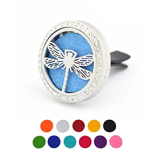 Car Aromatherapy Essential Oil Diffuser Air Freshener Vent Clip, Dragonfly Stainless Steel 30mm Rhinestones Locket, 11 Refill Pads by Trinkets Dream