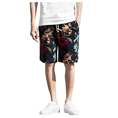 Shorts for Men F_Gotal Men's Plus Size Fashion Printing Drawstring Waist Cotton Hemp Bohemian Pants Shorts Sweatpants Black
