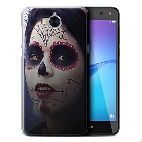 STUFF4 Gel TPU Phone Case/Cover for Huawei Y6 2017 / Halloween Makeup Design/Day of The Dead Festival Collection]()