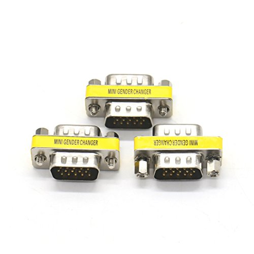 Hd15 Vga Mini (Pack of 3 HD15 VGA SVGA Male to Male Mini Gender Changer Coupler Adapter for PC)