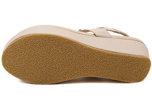 Plage Sandales de Bohème Élastique Brillant Beige Tongs BIGTREE Compensé Sandales Respirant Perles Femmes Doux IwACqId