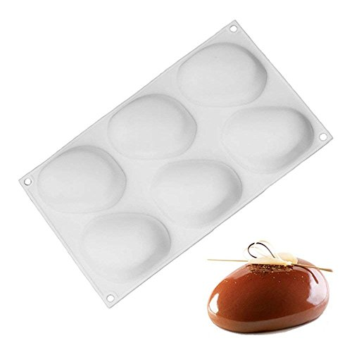 Wewin 6 Cavity Stone Shape White Silicone Cake Mold Baking Moulds Pastry Decorating Molds Tools for Muffin, Brownie, Mousse