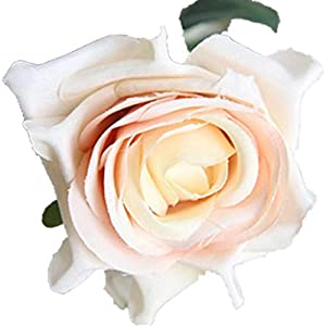 COLOV Hand Holding Flower Artificial Flower Rose Home Wedding Decoration(Light Yellow 16.93) 53