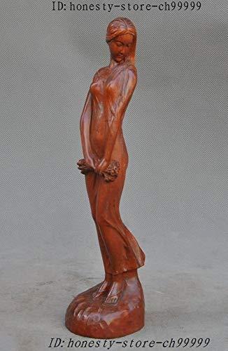 Kiartten Wooden Buddha Statue - Crafts Statue Yuanbao Wealth Lucky Maitreya Buddha Statue Sculptures Halloween]()
