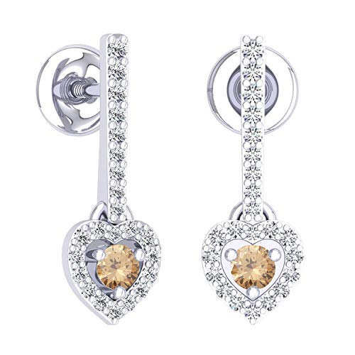 Dazzlingrock Collection 0.50 Carat (ctw) 14K Round Champagne & White Diamond Heart Dangling Drop Earrings 1/2 CT, White ()