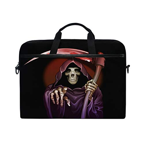 Halloween Death Laptop Bag Travel Briefcase with Organizer Water Resisatant with Adjustable Shoulder Strap for Men and Women Fits 14 Inch to 15.6 Inch Laptop,Computer,Tablet