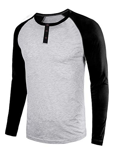 DAIKEN Men's Fashion Casual Long Sleeve T-Shirt Vintage Raglan Button Up Henley Baseball Shirts for ()